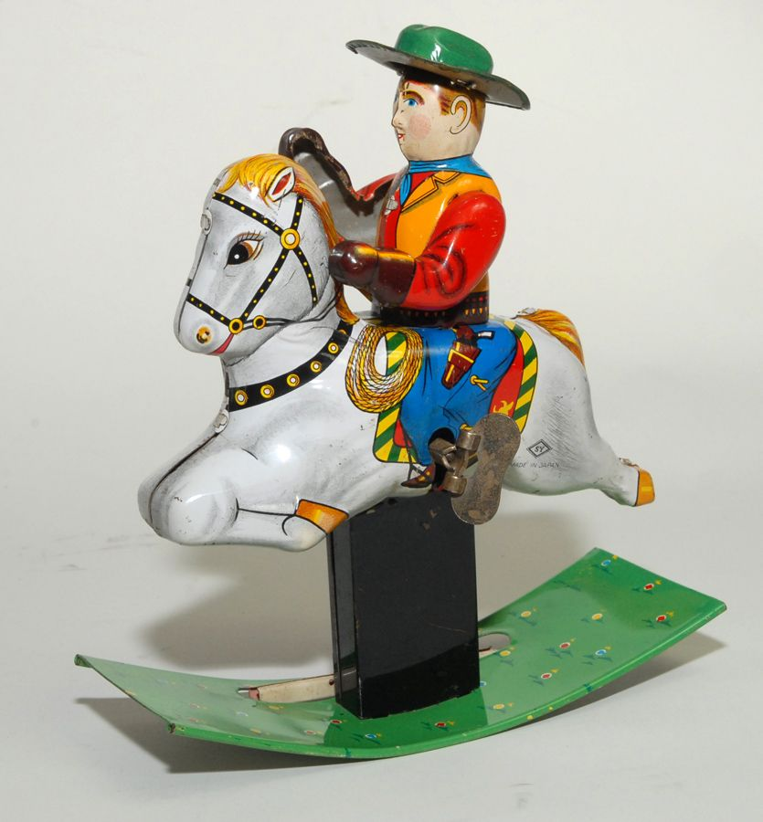 Japnese Tin Litho SY Windup - Rocking Horse w/Cowboy