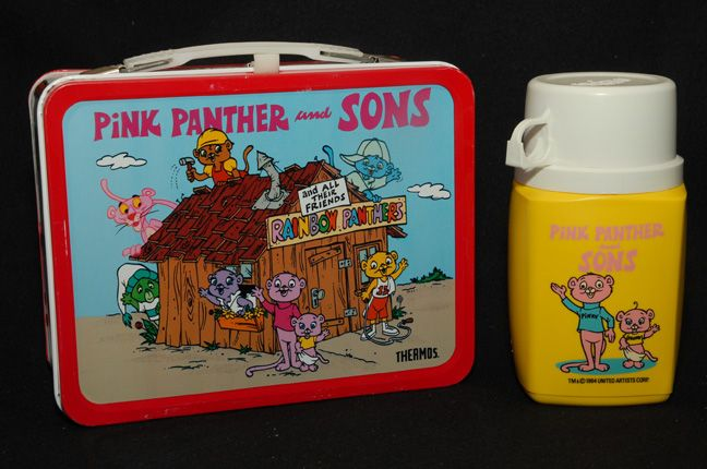 Pink Panther & Sons Lunch Box, Thermos, 1984 MINT